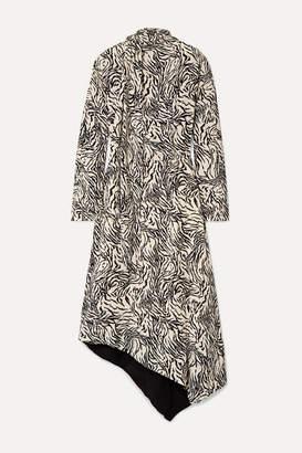 Proenza Schouler Asymmetric Printed Crepe Midi Dress - Off-white