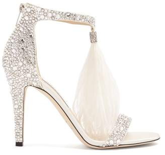Jimmy Choo Viola 100 Crystal Embellished Suede Sandals - Womens - White