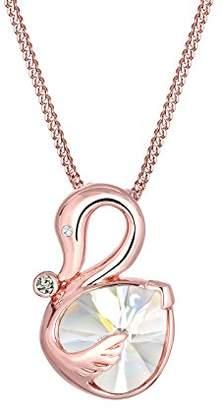 Elli Women 925 Sterling Silver Rosé Gold Plated Swan Swarovski Crystal Zirconia Necklace of 45cm 0102231216
