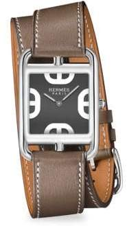 Hermes Cape Cod Stainless Steel& Leather Double-Wrap Watch