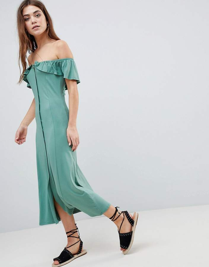 ASOS DESIGN ASOS Off Shoulder Button Through Midi Sundress