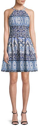 Vince Camuto Printed Halter Neck Fit And Flare Dress