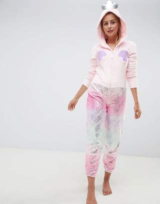 Loungeable Mermaid Metallic Applique Shell Onesie