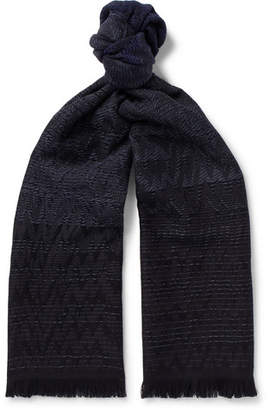 Missoni Fringed Wool-Jacquard Scarf