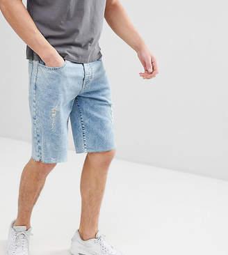 Co Brooklyn Supply Brooklyn Supply Acid Wash Denim Shorts With Frayed Hem and Chain