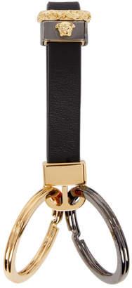Versace Black Leather Strap Keychain