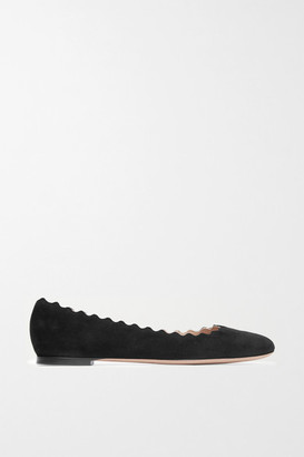 Chloé Lauren Scalloped Suede Ballet Flats - Black