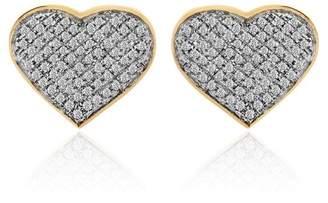 10K Yellow Gold Heart Shaped Diamond Earrings