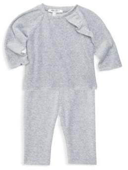 Baby Girl's Luxe Velour Ruffle Two-Piece Pajama Set