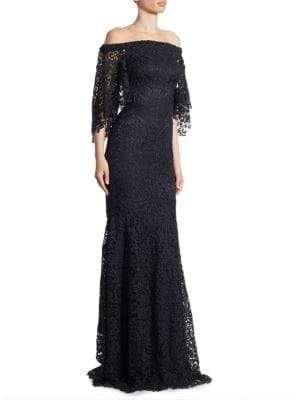 Theia Off-The-Shoulder Lace Trumpet Gown