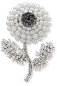Anne Klein Silvertone & Simulated Pearl Flower Brooch