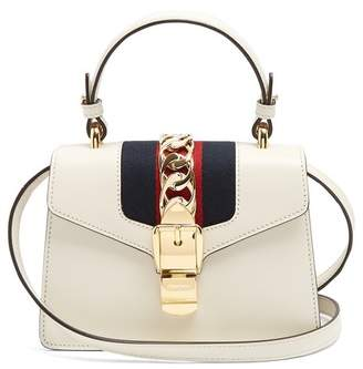 Gucci Sylvie Mini Leather Shoulder Bag - Womens - White