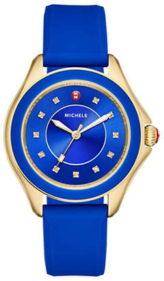 Michele Analog Topaz Goldtone Silicone Strap Watch