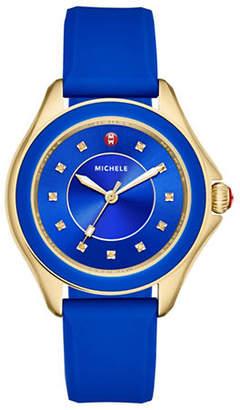 Michele Analog Topaz Goldtone Silicone Strap Watch