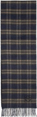 Loewe Navy and Brown Checks Scarf