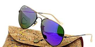 Jiggy Babe Top Brand Name Sunglasses Aviator UV400 Unisex for Mens Women , Retro Vintage Fashion Style , with High Quality Bronze Large Metal Frame & Flash Glass Mirrored Lenses ( Purple , 58mm)