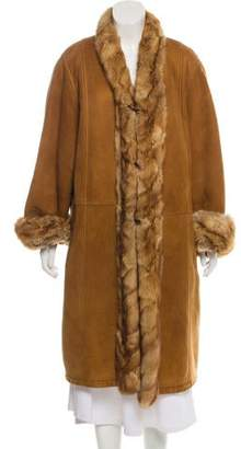 Christian Dior Sable-Trimmed Suede Coat