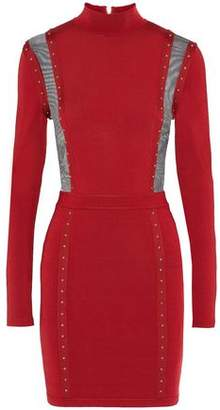 Balmain Mesh-Paneled Studded Stretch-Knit Turtleneck Mini Dress
