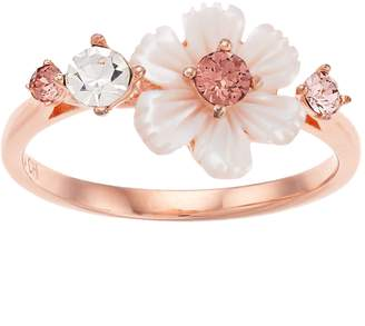 Brilliance+ Brilliance Mother of Pearl Flower Ring with Swarovski Crystals