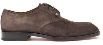 Christian Louboutin Thomas Ii Suede Derby Shoes - Mens - Black Brown