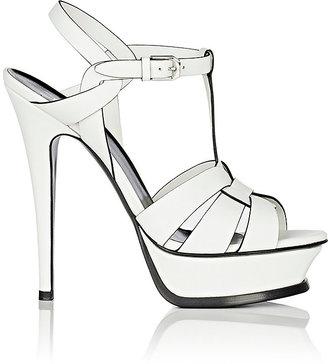 Saint Laurent Women's Tribute Leather Platform Sandals $895 thestylecure.com