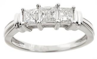 ONLINE 1 Carat T.W. Princess White Diamond 14kt White Gold 3-Stone Ring, IGL certified