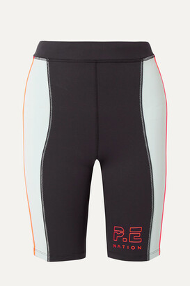 P.E Nation Camber Printed Two-tone Stretch Bike Shorts - Black