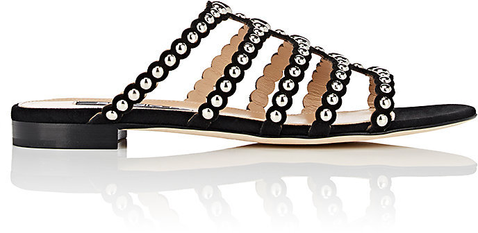 Sergio Rossi Women's Studded Suede Slide Sandals