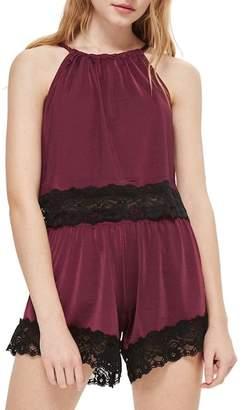 Topshop Jersey Satin & Lace Short Pajama Shorts