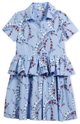 Fendi Floral-Print Collared Dress, Size 10-12