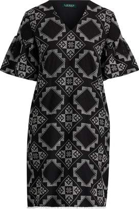 Ralph Lauren Geometric-Print Crinkled Dress