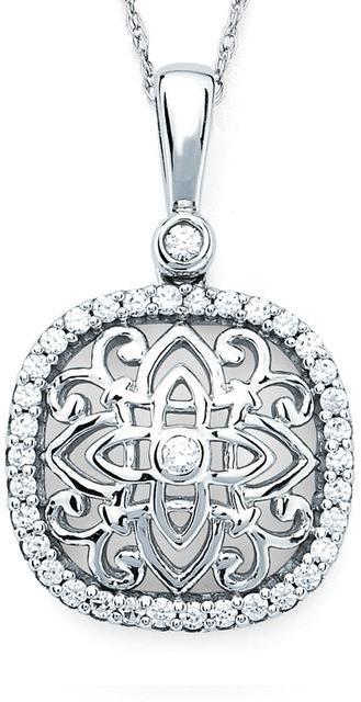 Boston Bay Diamonds 1/4 CT TW Diamond 14K White Gold Vintage Design Halo Necklace