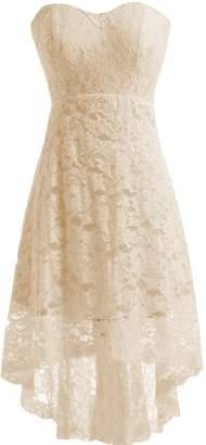 Miranda's Bridal Women's High Low Sweetheart Short Mini Lace Bridesmaid Dress US6W