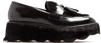 Prada Tassel-embellished leather flatform loafers
