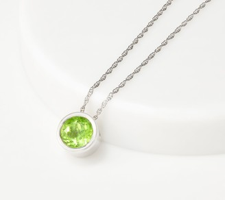 Bezel-Set Gemstone Pendant with Chain, 1.05 cttw, Sterling