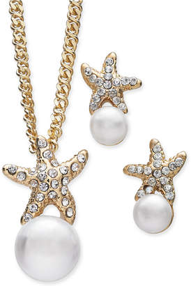 Charter Club Gold-Tone 2-Pc. Set Imitation Pearl & Pave Starfish Pendant Necklace & Matching Stud Earrings