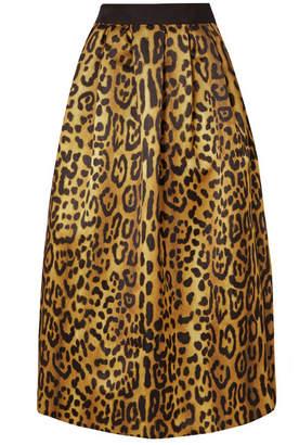 c803e13d9f16 ADAM by Adam Lippes Pleated Leopard-print Duchesse-satin Maxi Skirt - Leopard  print