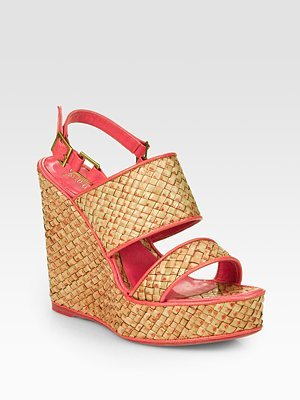 Jean-Michel Cazabat Padma Woven Straw & Leather Wedge Slingback Sandals