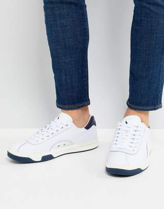 Polo Ralph Lauren Performance Court 100 Trainers Leather Mesh Mix in White/Navy