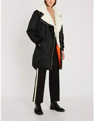 The Kooples Faux fur-trimmed padded shell parka coat