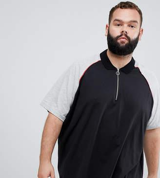 Jacamo zip neck polo with raglan sleeves