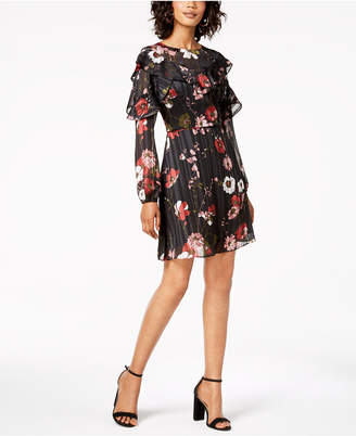 Adrianna Papell Floral-Print Ruffle Dress