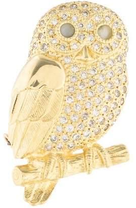 18K Diamond & Cat's Eye Chrysoberyl Owl Brooch Pendant