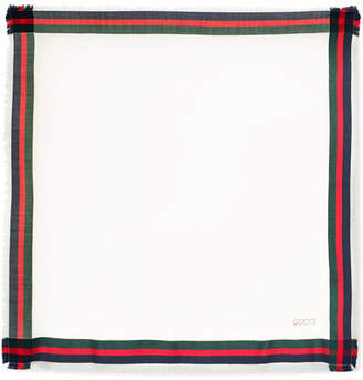 Gucci Embroidered Striped Silk And Wool-blend Scarf - Ivory
