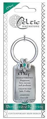 Celtic Shamrock Gift Birthstone Keyring May Emerald Gemstone