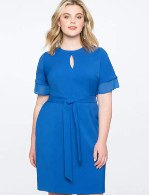 ELOQUII Tie Front Dress with Layered Sleeve
