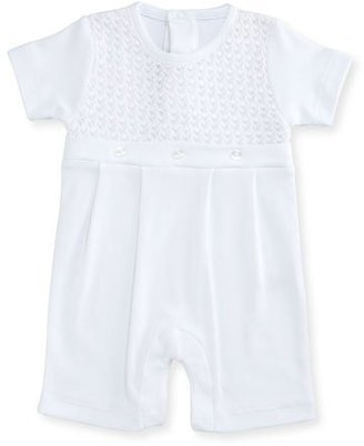 Kissy Kissy Breathless Pleated Pima Shortall, White, Size Newborn-9 Months $60 thestylecure.com