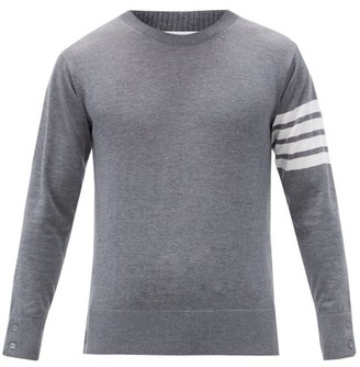 Thom Browne Intarsia Striped Wool Sweater - Mens - Grey