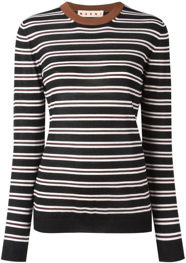MarniMarni striped crew neck jumper