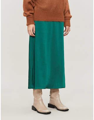 Gestuz Kamryn high-waist satin-crepe midi skirt